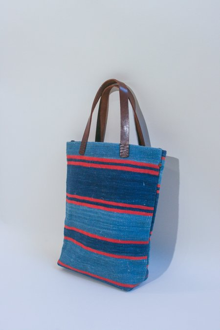 Bunai Woven Stripe Tote - Blue/Red