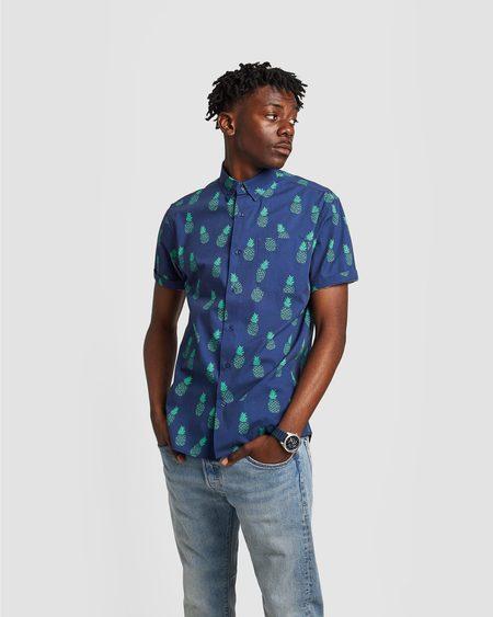 Poplin & Co. Pineapple Party Button Down Short Sleeve Shirt