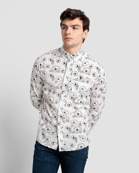 Poplin & Co. Casual Button Down Long Sleeve Shirt - Floral Outline Print