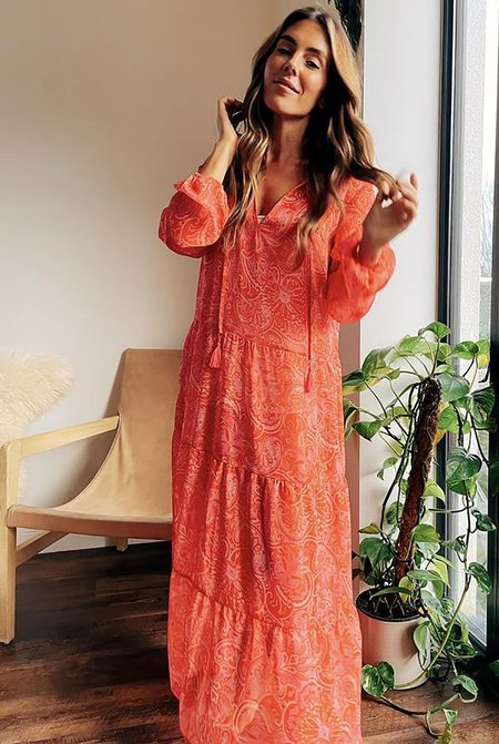 NEVER FULLY DRESSED Paisley Print Sheer Tiered Midi Dress