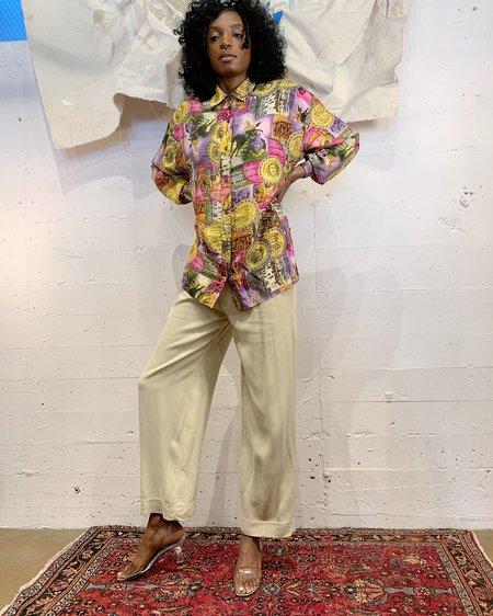 Vintage Celestial Sun Silk Blouse