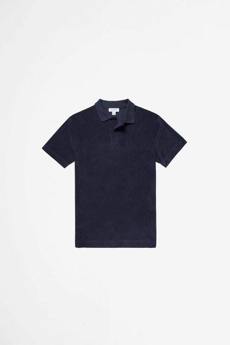 Sunspel Organic Cotton Towelling polo - navy