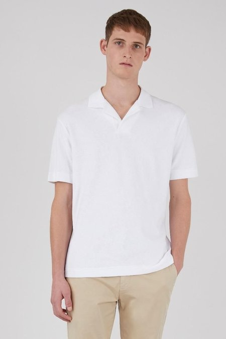 Sunspel Organic Cotton Towelling polo - white