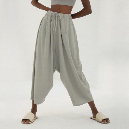 Mónica Cordera Maxi Linen Pants - Silver Blue