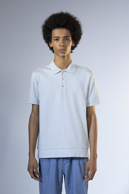 unfeigned sweat polo shirt top - pearl blue