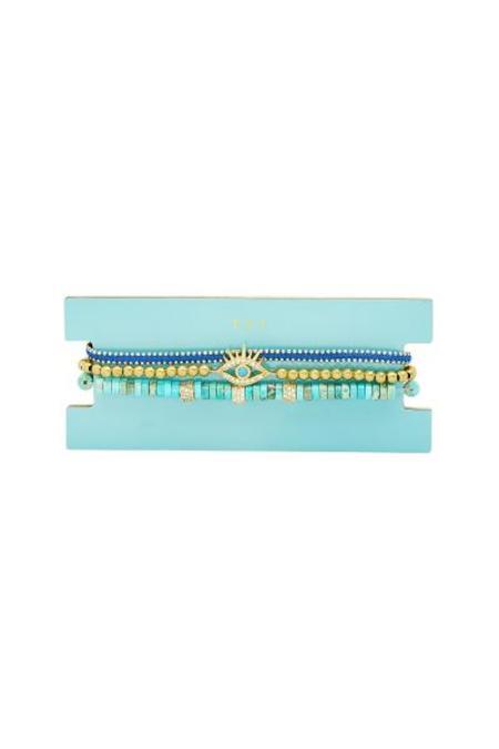 tai Set of 3 Beaded Bracelet - Blue