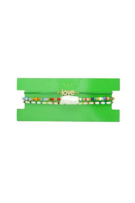 tai  Set of 3 Beaded Bracelet - Green