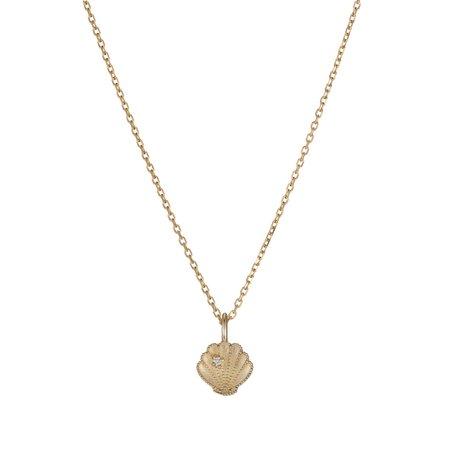 Jennie Kwon Designs Beaded Diamond Shell Necklace - 14k yellow gold