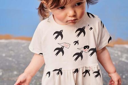 kids Beau Loves Birds T-Shirt Dress - White