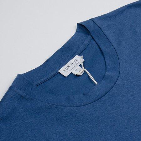 Sunspel Short Sleeve Riviera Crew Neck T-shirt - Smoke Blue
