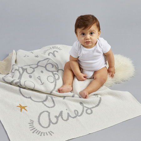 kids moon babe blankets Aries Babe Blanket - ivory/light grey/ochre