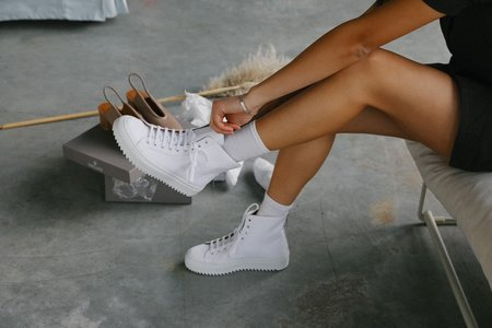 Sister x Soeur Lora Canvas High-Top White Sneaker