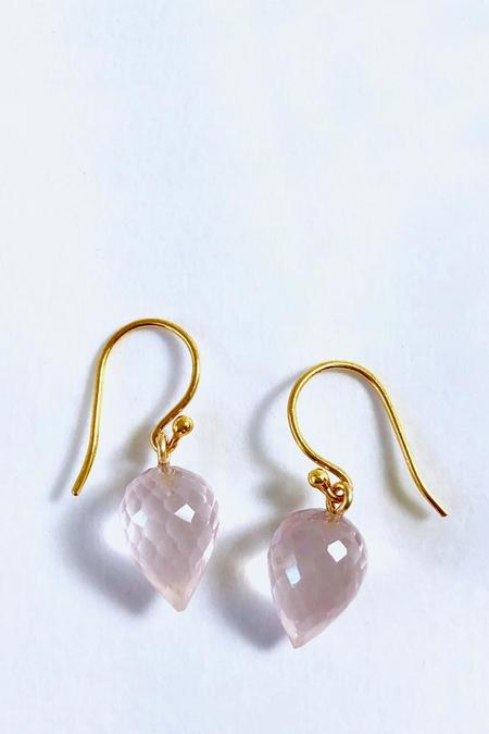 Percent Jewelry Faceted Rose Quartz drop Earring - 24 carat gold*sterling silver