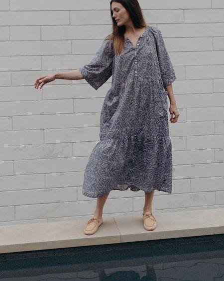 Esby Callie Dress - Denim Palm Leaf