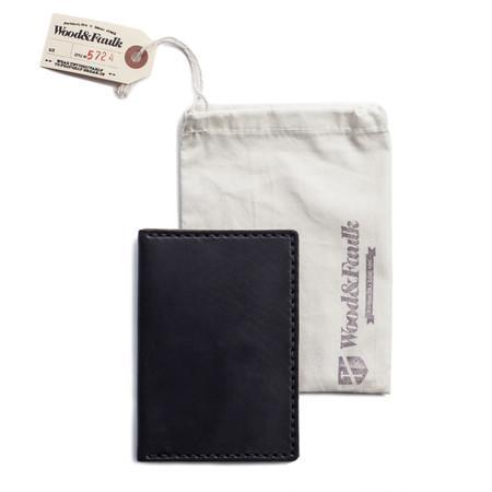 Wood & Faulk Navy Traveler Wallet - Navy
