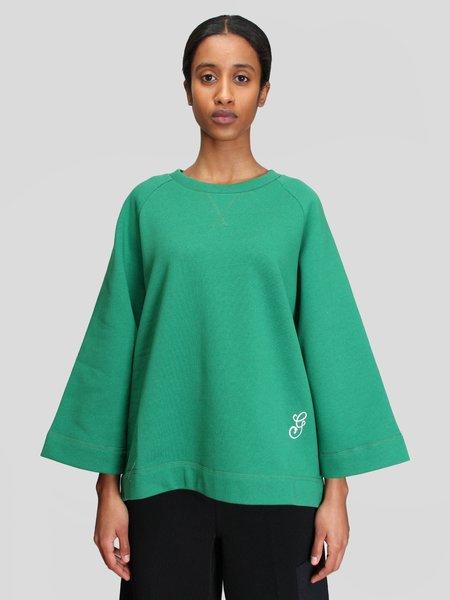 Ganni Oversized Embroidery Raglan Sweatshirt - Kelly Green