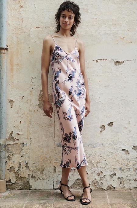 Silk Laundry 90S SILK SLIP DRESS - PINK PAISLEY