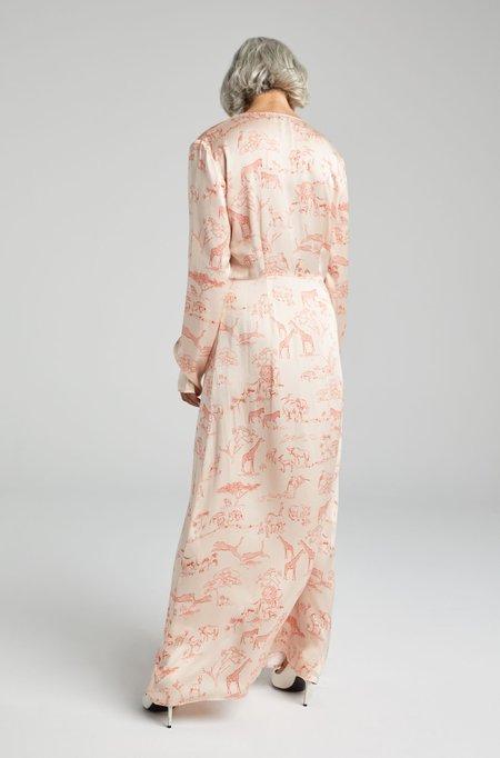 Silk Laundry LONG SLEEVED V NECK DRESS - SERENGETI
