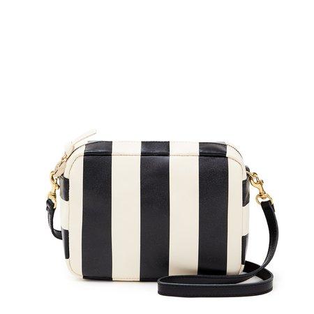 Clare V Midi Sac - Black/Cream Stripe