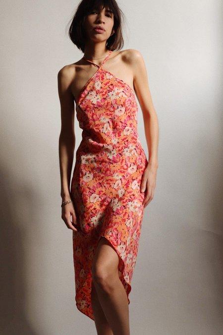 Vintage Express Floral Halter Dress - Pink/Orange