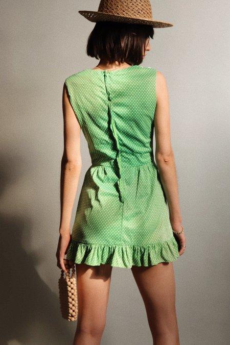 Vintage Mini Polka Dot Dress - Green