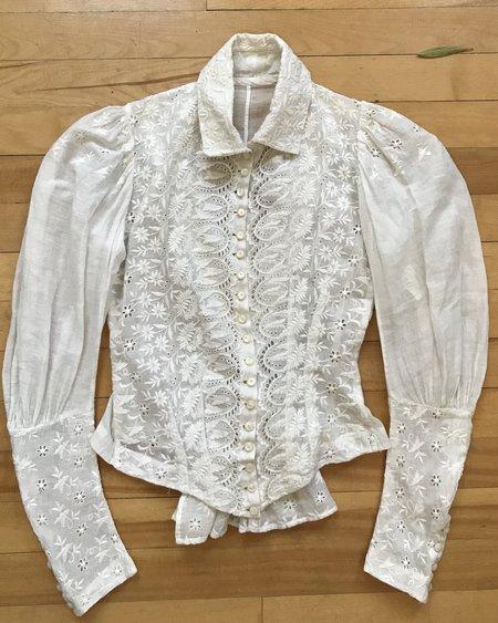 VINTAGE Victorian Floral Lace Blouse - white