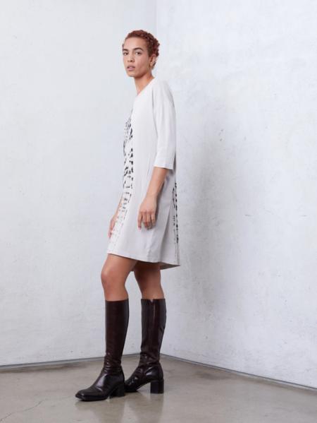 Raquel Allegra Hilma Baby Rib Cocoon Dress - White/Black