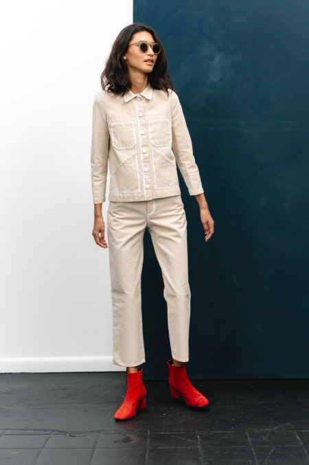 Carleen Primed Canvas Triangle Pocket Jacket - Ivory