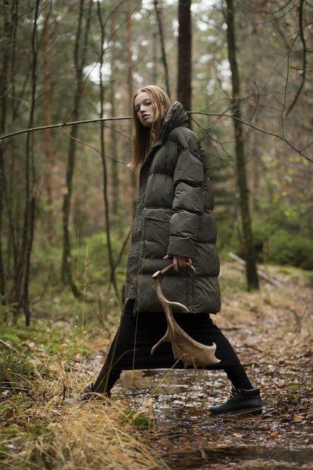 I DIG DENIM CLAY Long Puffer Jacket - Dark Green