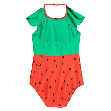 kids Mini Rodini Baby And Child Strawberry Halterneck Swimsuit - Red
