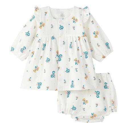 KIDS Petit Bateau Baby Ladivine Floral Print Blommers and Dress - Cream