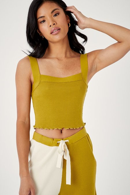 back beat rags Organic Cotton Lila Crop - Chartreuse
