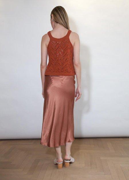 Anna October Lara Satin Midi Skirt - Terracotta