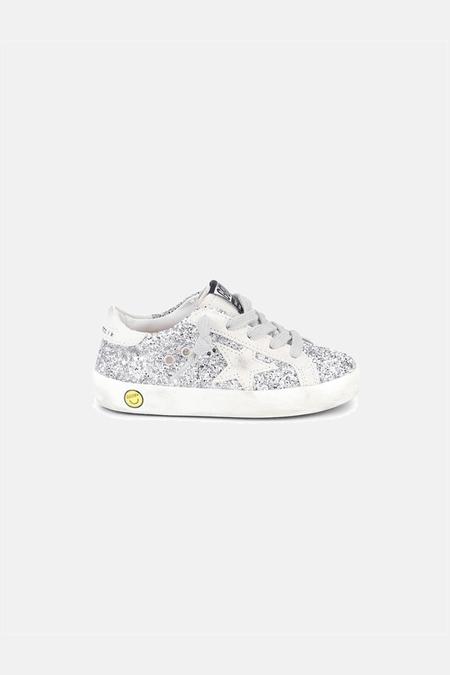 kids Golden Goose Superstar Shoes - Silver/White