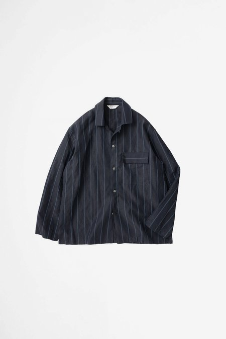 Still By Hand Open collar coverall - navy stripe