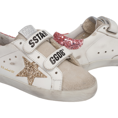 kids Golden Goose Old School Leather Upper and Stripe Suede Toe Glitter Star and Heel GYF00111.F001010.80780 shoes - white