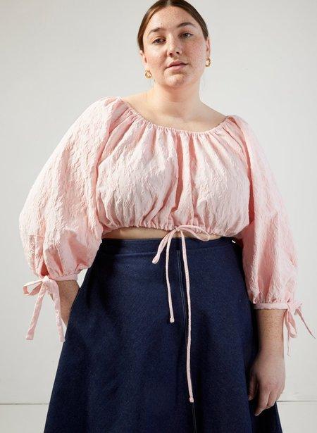 Eliza Faulkner Poet Top - Pink Brocade