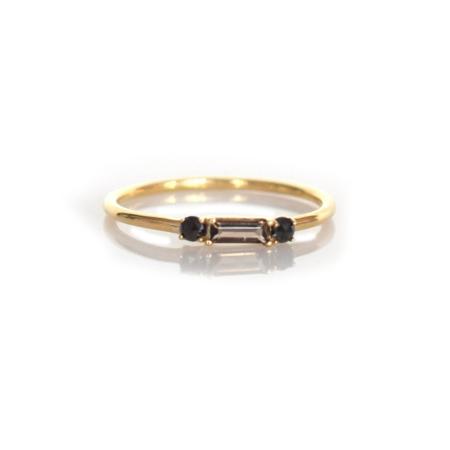 La Kaiser Smoky Quartz and Black Diamond Baguette Crush Ring - 14kt Gold