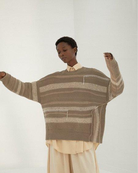 Mónica Cordera Monica Cordera Patched Sweater - Taupe