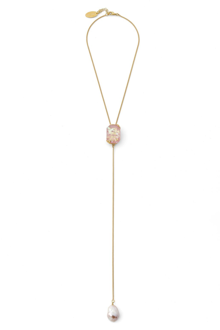 Forte Forte Iridescent Resin and Pearl Pendent Necklace - Rosie/brass