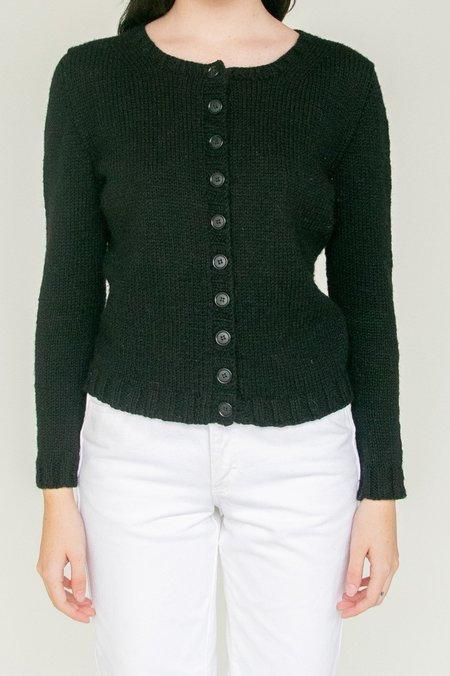 Vintage Cropped Wool Cardigan - black