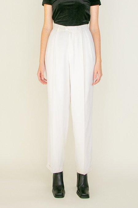 Vintage High Rise Silk Trousers - white