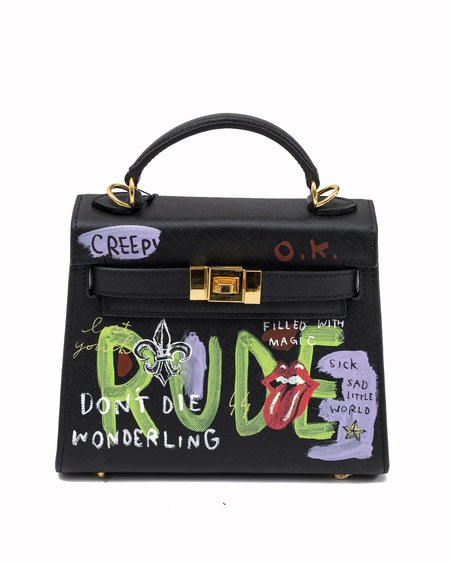 Guernika Paint Candy Leather Rolling Stone bag - Black