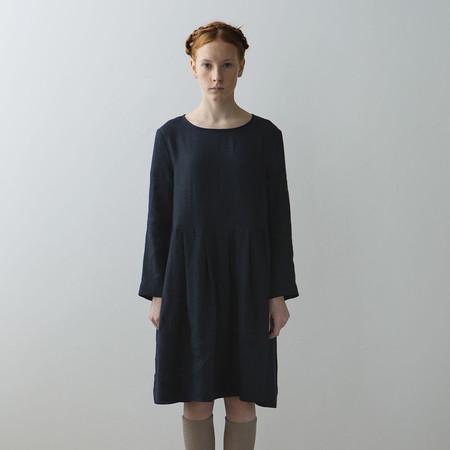 Kids Muku Collarless Pleated Dress - Dark Blue Check