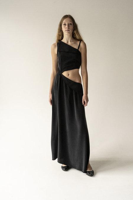 K M by L A N G E PURE SILK KATIUSHA LONG DRESS - BLACK