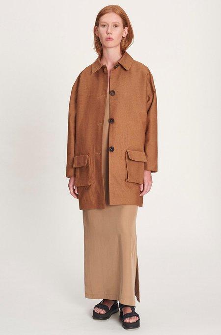 we.re Cardigan silk coat - brown