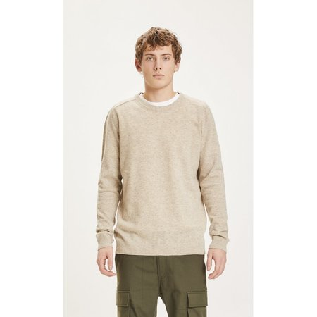knowledge cotton apparel Field O-Neck long stable cotton knit sweater - Total Eclipse