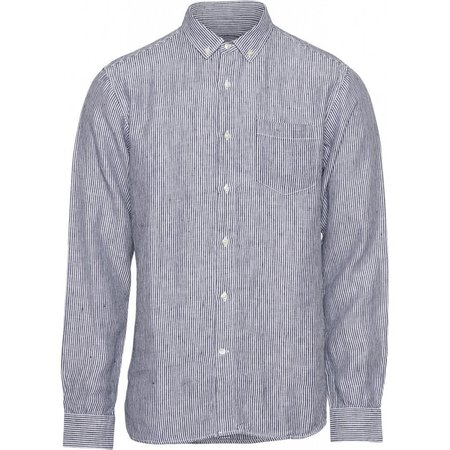 knowledge cotton apparel Larch LS striped linen shirt - total eclipse