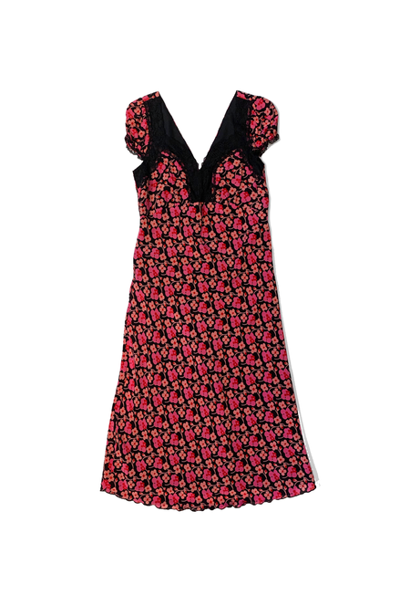 Anna Sui Upcycle Lace Trim Dress - Pink Multi