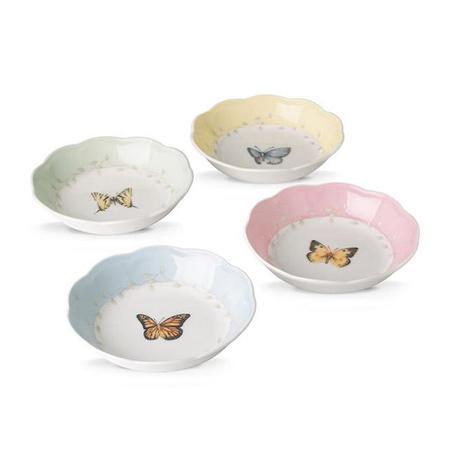Lenox Set Of 4 Butterfly Meadow Dinnerware Dessert Fruit Dish